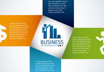 Pinwheel Tab Business and Finance Infographic with Icon Set 2