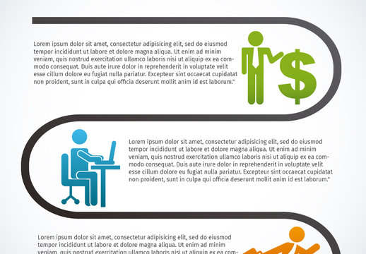 Looped Line Element Business Infographic with Pictogram Icons