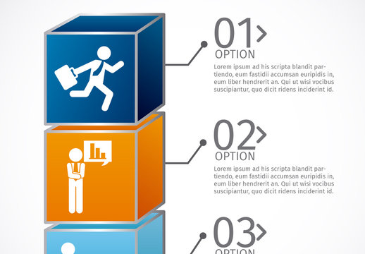 3D Cube Element Business Infographic with Pictogram Icons
