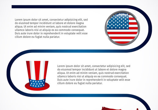 Looped Line Element United States Data Infographic with Icon Set