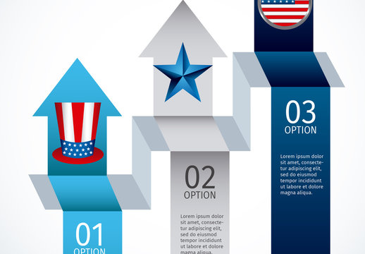 3 Arrow Banner United States Data Infographic with Icon Set 1