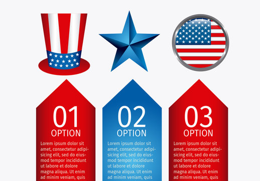 3 Arrow Banner United States Data Infographic with Icon Set 2
