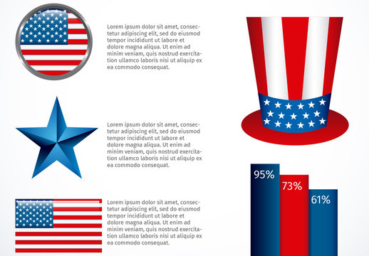 United States Data Infographic with Flag Theme Icon Set