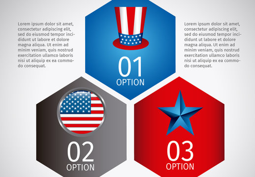 Hexagonal Tile United States Data Infographic with Icon Set