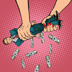 Female hands squeeze men money