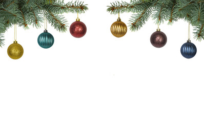 brightly colored christmas balls hanging from christmas tree isolated on white background