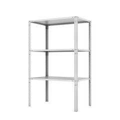 Rendering of metal rack with three shelves, isolated on a white background