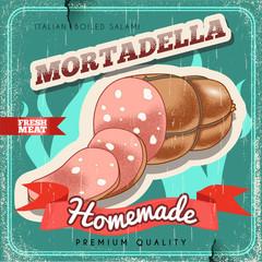 Homemade italian mortadella vintage vector poster. Old paper textured background. Boiled salami premium quality. Boiled ham retro design.