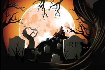 Halloween cemetery. EPS 10 vector.
