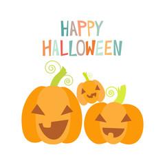 Happy pumpkins. Halloween design card template.