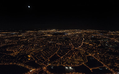 Majestic view of Madrid city at night