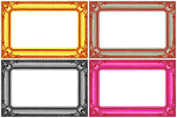 four multicolor wooden frames isolated on white