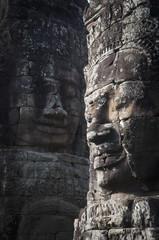 Face sculptures on stone walls at angkor wat;Cambodia
