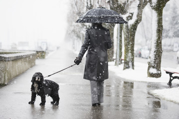 A woman walking her dog in a snowfall;Locarno ticino switzerland