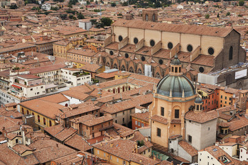 High angle view from the towers of bologna with a view of a cathedral's dome roof;Bologna emilia-romagna italy
