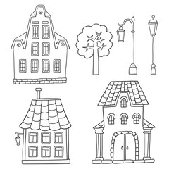 Set with different houses. Vector sketches houses and other arch