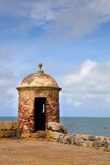 Lookout tower on cartagena city wall las murallas;Cartagena colombia