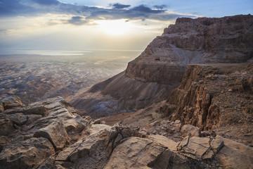Sunrise over Judean Desert, Masada, Israel