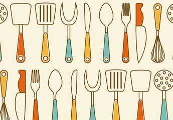 Retro Kitchen Utensil Pattern 1