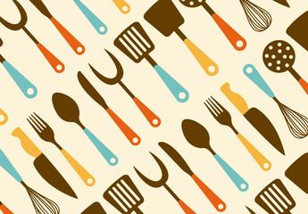 Retro Kitchen Utensil Pattern 2