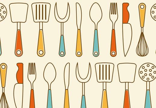 Retro Kitchen Utensil Pattern 1
