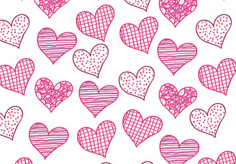 Bright Pink and Purple Doodle Hearts Pattern