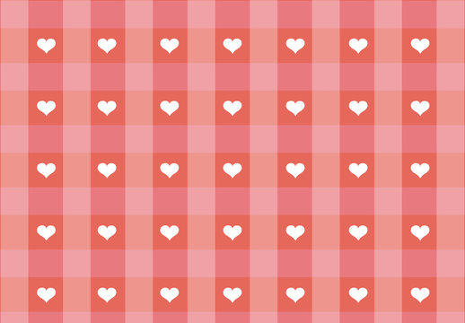 Hearts and Pink Gingham Pattern