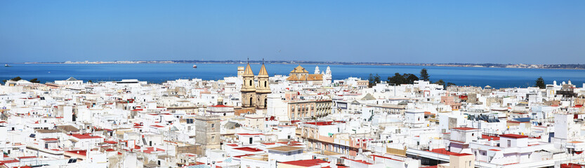 Whitewashed town on the coast;Cadiz andalusia spain