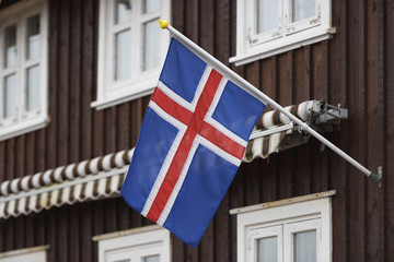 Icelandic Flag On A House; Stykisholmur, Snaefellsnes, Iceland