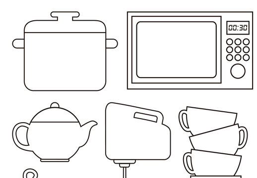 23 Black Outlined Kitchen Items