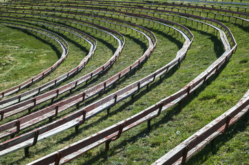 Seats In A Rodeo Ground; Alberta, Canada