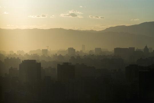 Smog over the city of Beijing;Beijing China