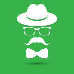 white hat with mustache, bow tie and glasses isolated on the gre