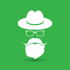 white hat with mustache, beard and glasses isolated on the green