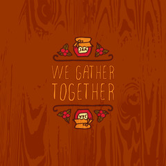 Vector handdrawn autumn element with text
