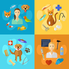 Veterinary icons set.