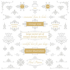 vector set of calligraphic vintage decorative elements for your design labels, invitations, banners, posters, badges, logos, postcards and more. Part two.