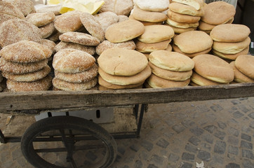 Bread for sale on a cart;Casablanca morocco