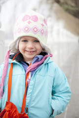 Portrait of young girl wearing a winter hat;Beijing china