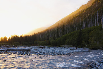 Sun setting over Hoh River below Hoh Burn; Washington, United States of America