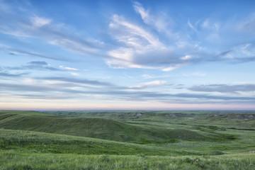 Sunset sky over Grasslands National Park; Saskatchewan, Canada