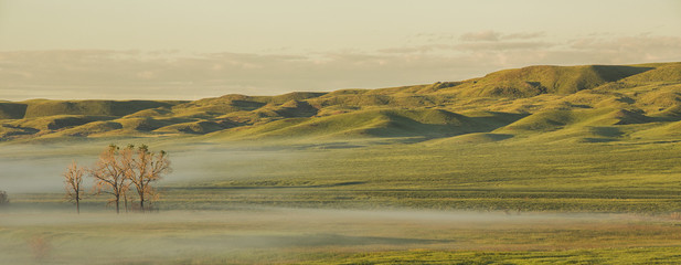 Sunrise with fog in the valleys, Grasslands National Park; Saskatchewan, Canada