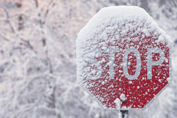 Stop Sign Covered With Snow In Winter; Limehouse, Ontario, Canada