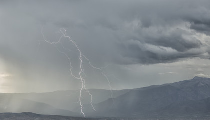 Lightning strike in the mountains surrounding Cochabamba; Cochabamba, Bolivia