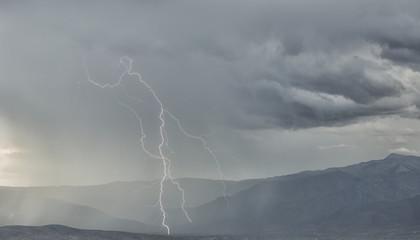 Lightning strike in the mountains surrounding Cochabamba; Cochabamba, Bolivia