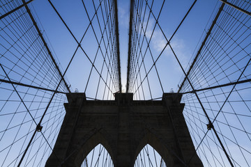 Neogothic tower holding the cables of the Brooklyn Bridge, New York City, New York, United States
