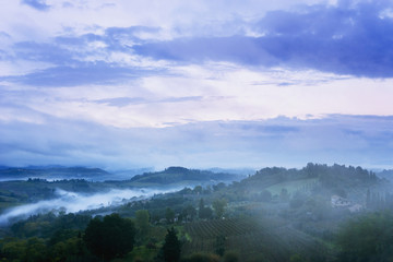 Landscape with low cloud, near San Gimignano; Tuscany, Italy