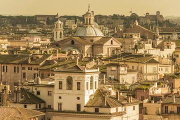 Buildings in Rome in sepia tone; Rome, Lazio, Italy