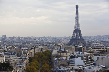 Eiffel Tower and cityscape; Paris, France