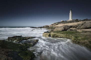 Lighthouse; Cape Trafalgar, Los Canos de Meca, Costa de la Luz, Cadiz, Andalusia, Spain